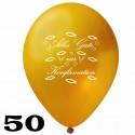 Luftballons, Latex, Alles Gute zur Konfirmation, 30 cm Ø, Gold, 50 Stück