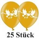 Luftballons, Latex 30 cm Ø, 25 Stück, Gold mit Hochzeitstauben in Weiß