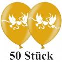 Luftballons, Latex 30 cm Ø, 50 Stück, Gold mit Hochzeitstauben in Weiß