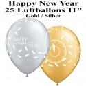 Luftballons Silvester, Motiv: Happy New Year, gold, silber, 25 Stück