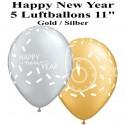 Luftballons Silvester, Motiv: Happy New Year, silber/gold, 5 Stück