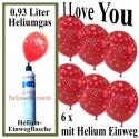Luftballons Liebe Helium Set, 6 Ballons Liebe, Mini-Helium-Einweg