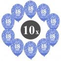 Luftballons mit der Zahl 18, Blau, Kristall, 10 Stück