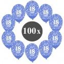 Luftballons mit der Zahl 18, Blau, Kristall, 100 Stück
