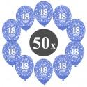 Luftballons mit der Zahl 18, Blau, Kristall, 50 Stück
