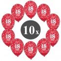 Luftballons mit der Zahl 18, Rot, Kristall, 10 Stück