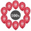 Luftballons mit der Zahl 18, Rot, Kristall, 100 Stück