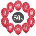 Luftballons mit der Zahl 18, Rot, Kristall, 50 Stück