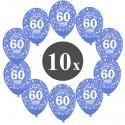 Luftballons mit der Zahl 60, Blau, Kristall, 10 Stück