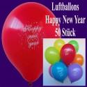 Luftballons Silvester, Happy New Year, 50 Stück, bunt gemischt