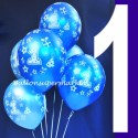 Luftballons, Latexballons Happy 1 Birthday / Blau & Hellblau