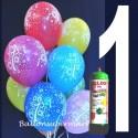 1 Liter Helium-Einwegflasche und 10 Luftballons mit der Zahl 1 zum 1. Geburtstag
