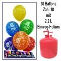 Helium- Einwegbehälter mit 30 Geburtstagsballons zum 18.