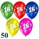 Luftballons, Latexballons zum 18. Geburtstag / gemischte Farben, 50 Stück
