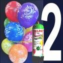 1 Liter Helium-Einwegflasche und 10 Luftballons mit der Zahl 2 zum 2. Geburtstag