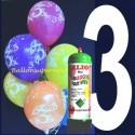 1 Liter Helium-Einwegflasche und 10 Luftballons mit der Zahl 3 zum 3. Geburtstag