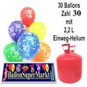 Helium- Einwegbehälter mit 30 Geburtstagsballons zum 30.