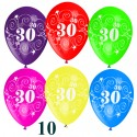 Luftballons, Latexballons Zahl 30 zum 30. Geburtstag / gemischte Farben, 10 Stück