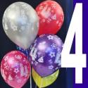 Luftballons, Latexballons Happy 4 Birthday / gemischte Farben