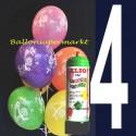 1 Liter Helium-Einwegflasche und 10 Luftballons mit der Zahl 4 zum 4. Geburtstag