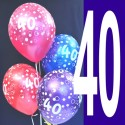 Luftballons, Latexballons Happy 40 Birthday / gemischte Farben