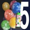 1 Liter Helium-Einwegflasche und 10 Luftballons mit der Zahl 5 zum 5. Geburtstag