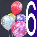 Luftballons, Latexballons Happy 6 Birthday / gemischte Farben