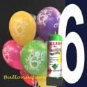 1 Liter Helium-Einwegflasche und 10 Luftballons mit der Zahl 6 zum 6. Geburtstag