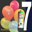 1 Liter Helium-Einwegflasche und 10 Luftballons mit der Zahl 7 zum 7. Geburtstag