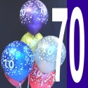 Luftballons, Latexballons Happy 70 Birthday / gemischte Farben