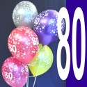 Luftballons, Latexballons Happy 80 Birthday / gemischte Farben
