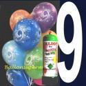 1 Liter Helium-Einwegflasche und 10 Luftballons mit der Zahl 9 zum 9. Geburtstag