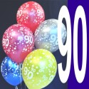 Luftballons, Latexballons Happy 90 Birthday / gemischte Farben