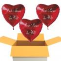 Beste Mama der Welt! 3 Stück rote Herzluftballons aus Folie mit Ballongas-Helium zum Muttertag