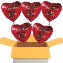Beste Mama der Welt! 5 Stück rote Herzluftballons aus Folie mit Ballongas-Helium zum Muttertag