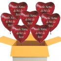 Danke Mama, du bist die Beste! 7 Stück rote Herzluftballons aus Folie mit Ballongas-Helium zum Muttertag