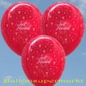 Luftballons Hochzeit, Latex, 50 Stück, Just Married, Rubinrot
