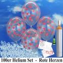 Maxi-Set, Luftballons zur Hochzeit steigen lassen, 100 transparente Luftballons mit roten Herzchen, inkl. Helium und Ballonflugkarten