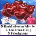 Luftballons zur Hochzeit steigen lassen, Helium- Einwegbehälter mit 20 Herzballons aus Folie in Rot und Ballonflugkarten