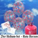Luftballons zur Hochzeit steigen lassen, Helium- Einwegbehälter mit 25 transparenten Luftballons mit Herzen in Rot inklusive Ballonflugkarten Hochzeit