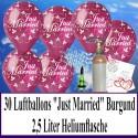Midi-Set, Luftballons zur Hochzeit steigen lassen, 30 Hochzeitsluftballons in Burgund, Just Married, mit Helium