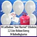 """Luftballons zur Hochzeit steigen lassen, Helium- Einwegbehälter mit 30 Luftballons in Elfenbein """"Just Married"""" und Ballonflugkarten"""