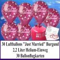 """Luftballons zur Hochzeit steigen lassen, Helium- Einwegbehälter mit 30 Luftballons in Burgund """"Just Married"""" und Ballonflugkarten"""