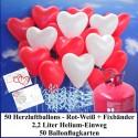 Luftballons zur Hochzeit steigen lassen, Helium- Einwegbehälter mit 50 Herzballons Hochzeit ROT/WEIß und Ballonflugkarten