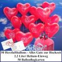 Luftballons zur Hochzeit steigen lassen, Helium- Einwegbehälter mit 50 Herzballons Alles Gute zur Hochzeit Rot und Ballonflugkarten
