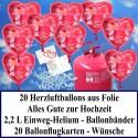 """Luftballons zur Hochzeit steigen lassen, Helium- Einwegbehälter mit 20 Herzballons aus Folie, """"Alles Gute zur Hochzeit"""" in Rot und Ballonflugkarten"""