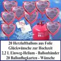 """Luftballons zur Hochzeit steigen lassen, Helium- Einwegbehälter mit 20 Herzballons aus Folie, """"Glückwünsche zur Hochzeit"""" in Rot und Ballonflugkarten"""