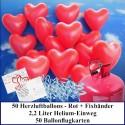 Luftballons zur Hochzeit steigen lassen, Helium- Einwegbehälter mit 50 Herzballons Hochzeit ROT und Ballonflugkarten