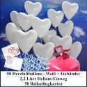 Luftballons zur Hochzeit steigen lassen, Helium- Einwegbehälter mit 50 Herzballons Hochzeit Weiß und Ballonflugkarten