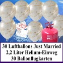 """Luftballons zur Hochzeit steigen lassen, Helium- Einwegbehälter mit 30 Luftballons in Weiß """"Just Married"""" und Ballonflugkarten"""